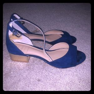 Kaari Blue Shoes - Kaari Blue suede sandals gold heel ankle buckle 7M
